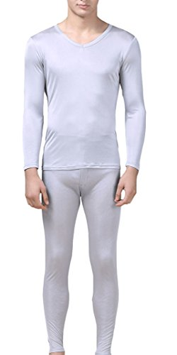 Men's Silk Thermal Underwear Sets | Silk Long Underwear | V-Neck Silk Long John for Men… (M, Silver Gray)