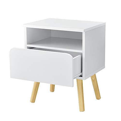 [en.casa] Beistelltisch 50 x 40 x 34 cm Kommode Nachttisch Nachtschrank Nachtkommode Ablage Weiß