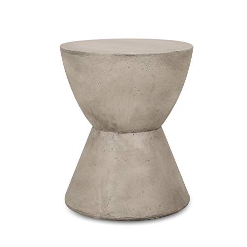Christopher Knight Home 313408 Sammy Outdoor Lightweight Concrete Side Table, Light Gray