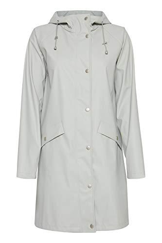 ICHI Damen TAZI JA Regenmantel, Beige (Feather Gray 10080), 34 (Herstellergröße: XS)