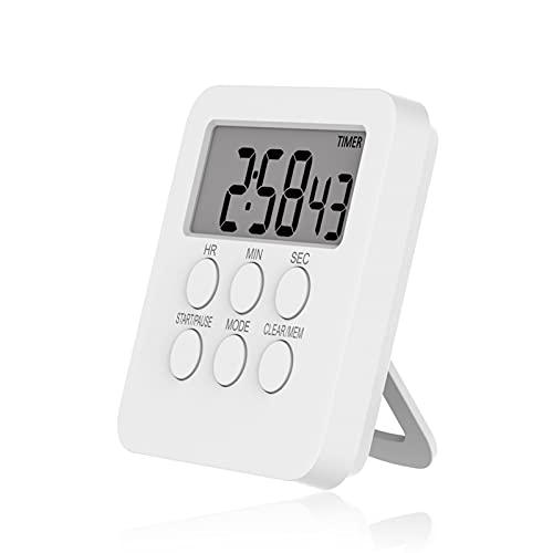 Temporizador digital Relógio Cozinhar Magnético Contagem Regressiva Alarme 24 Horas com Tela LCD Modo Mudo para Estudar Esportes Escritório Biblioteca de Sala de Aula