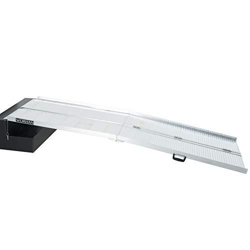 WORHAN® 2.44m Rampa Plegable Carga Silla de Ruedas Discapacitado Movilidad Aluminio Anodizado 244cm R8