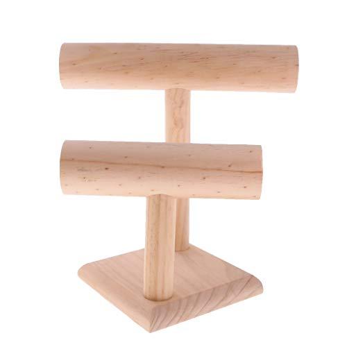 Preisvergleich Produktbild Tubayia T-Form Schmuckständer Holz Doppelschicht Schmuck Halter Organizer Veranstalter Rack