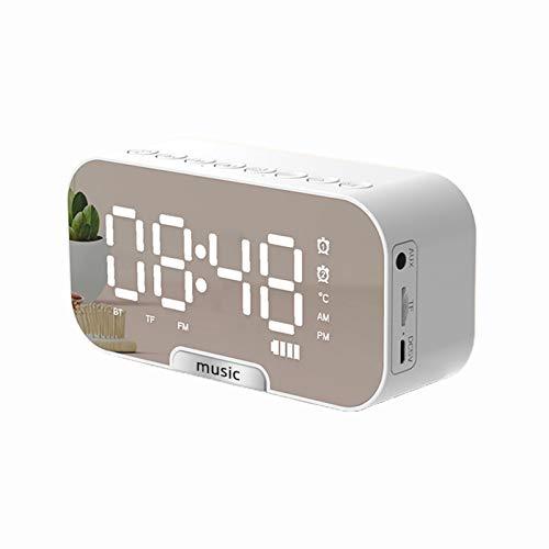 Mothcattl Q5 Portátil Bluetooth 5.0 Mini Reloj Despertador Inalámbrico Espejo Altavoz, Insertar Tarjeta Reloj De Mesa Altavoz con Función De Carga USB para El Hogar Blanco