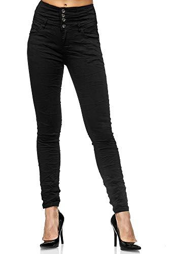 Elara Damen Jeans High Waist Push Up Skinny Fit Chunkyrayan 1949 Black-44 (2XL)