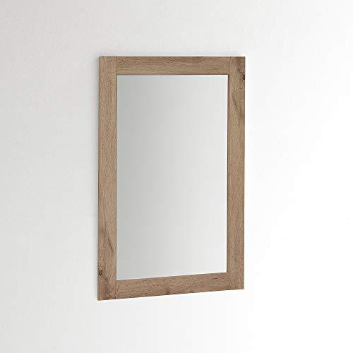 ARHome Espejo de pared 90 x 60 cm, roble rústico, espejo de pared, fabricado en Italia