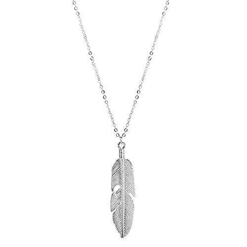 Vintage Angel Feather Pendant Necklace Chain Statement Jewelry (Silver)