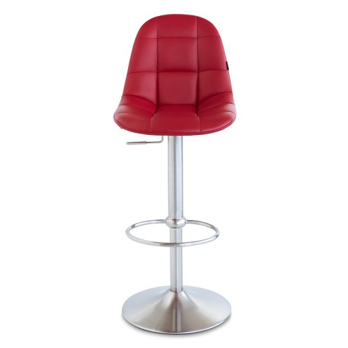 Zuri Furniture Red Rochelle Adjustable Height Swivel Armless Bar Stool
