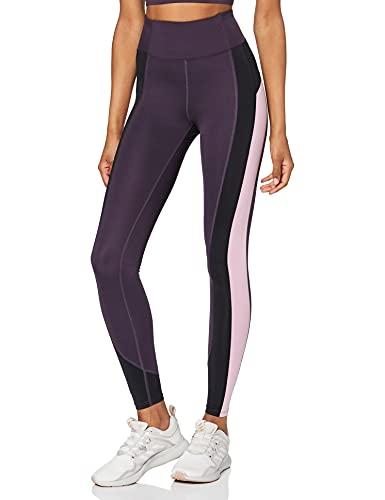 Marca Amazon - AURIQUE Mallas de Deporte Combinadas con Tiro Alto Mujer, Morado (Nightshade/Black/Mauve Mist), 38, Label:S