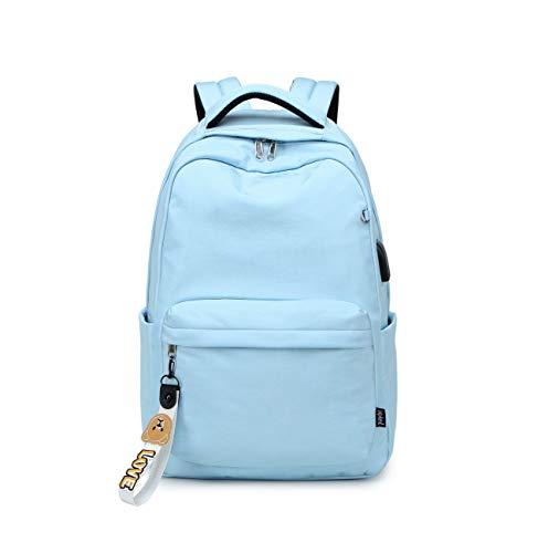 Acmebon Mochila Escolar Clásica para Niña Mochila de Color Liso para Adolescentes Cielo Azul