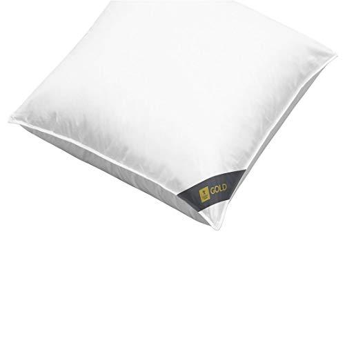 Spessarttraum Dreikammer Kopfkissen 80 x 80/1000 g - Kissen Gold100 weich mit 90% Gänsedaunen und 10% Gänsefedern - Bezug 100% Baumwolle