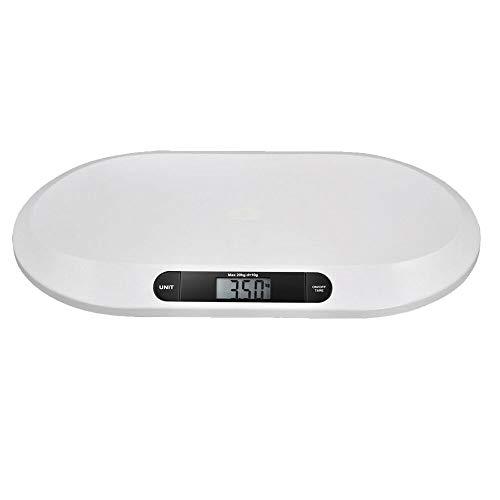 Báscula digital para bebés hasta 20 kg, pantalla LED digital, control de peso desde el nacimiento, pantalla LCD, función de tara, alta precisión, apagado automático (color blanco)