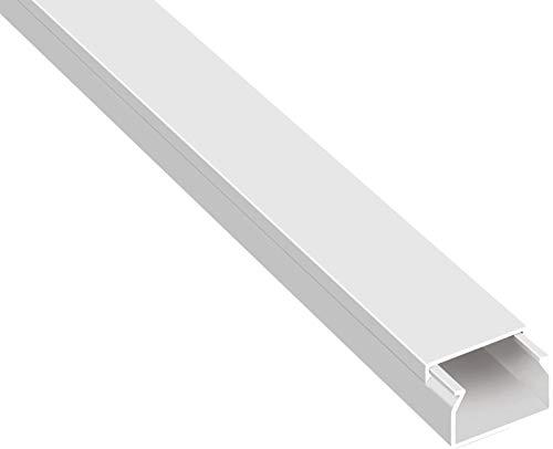 SCOS Smartcosat 10 m Kabelkanal (20 x 10 x 2000 mm (5 Stück a 2 m) B x H x L, Weiß/Weiss/Reinweiß) schraubbar PVC Kunststoff, Aufputz Wand Montage allzweck Kabelleiste, Kabelschacht