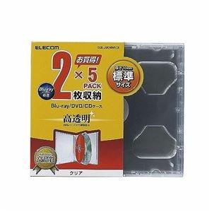 (まとめ)エレコム Blu-ray/DVD/CDケース(標準/PS/2枚収納) CCD-JSCNW5CR【×10セット】