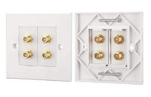 K M Electronics 1 Gang Quad 4 X F Type Coax COAXIAL Wall Socket Plate TV Satellite Sky Virgin