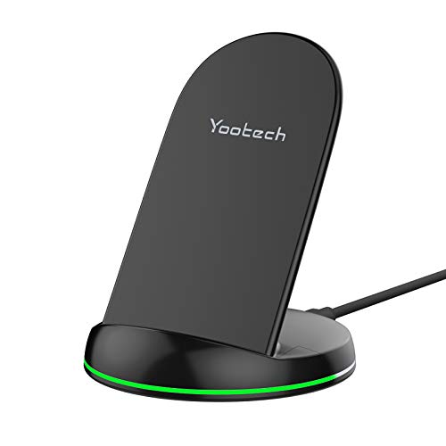 yootech Cargador Rápido Inductivo Qi,10W para Galaxy S20/Note 10/S10+/S10E/Note 9/S9/S8/Note 8, 7.5W Compatible con iPhone 12/12 Pro/SE 2020/11/11 Pro/11 Pro MAX/XS MAX/XR/XS/X/8+/8 (NO Adaptador)