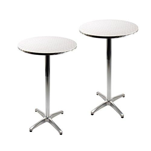 Vanage Tavoli da Bistrot, Set da 2 Tavolini Alti da Bar o Giardino con Piano Tondo, Tavolo Basso 70 cm o Tavolo Alto 110 cm, Piedini Regolabili