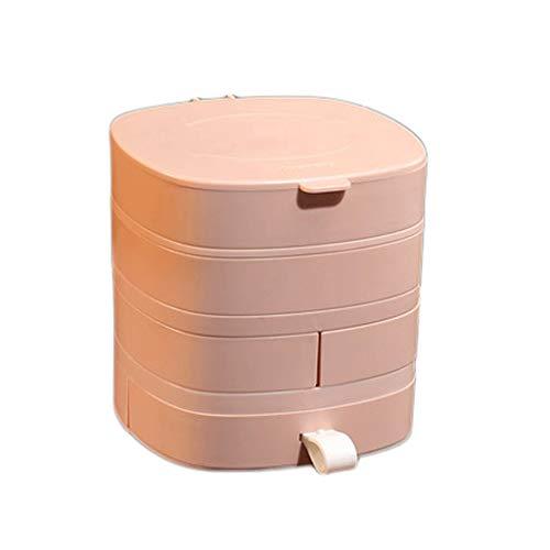 Preisvergleich Produktbild WM home Rotierende Schmuckschatulle,  Schmuckschatulle Haushalt,  Flip-Cover,  Durable und Multifunktions,  for Armbänder,  Halsketten,  Ohrringe (Color : Pink)