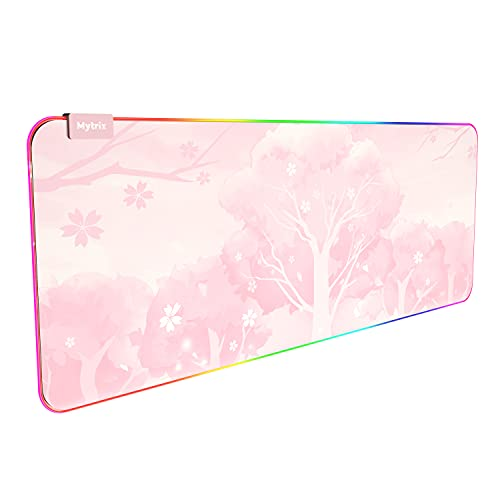 RGB Gaming Mouse Pad, LED Soft Extra Extended Large Office Mouse Pad, Anti-Slip Rubber Base, Computer Keyboard Mouse Mat (31.5 x 12 Inch) Sakura Cherry Blossoms Pink