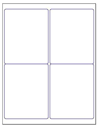 """Blank White Permanent Adhesive Labels for Laser/Ink Jet Printer (4 x 5"""" - 4 Per Page   100 Labels)"""