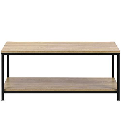 Belissy Mesa de café, mesa de salón, mesa de centro vintage, mesa de salón, mesa de salón, mesa de centro retro, mesa de salón, mesa de sofá con estante, estructura de metal, madera, estable vintage