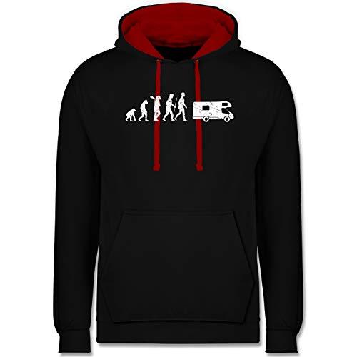 Shirtracer Evolution - Evolution Camper weiß - XS - Schwarz/Rot - Geschenkideen - JH003 - Hoodie zweifarbig und Kapuzenpullover für Herren und Damen