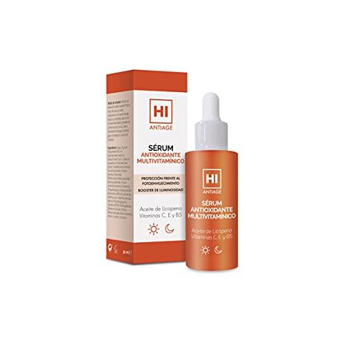 Hi Antiage Sérum Antioxidante Multivitamínico, Sérum Ligero con Vitaminas C, E, B5 y Aceite de Licopeno, Protege Frente al Fotoenvejecimiento y Potencia la Luminosidad, 30 Ml