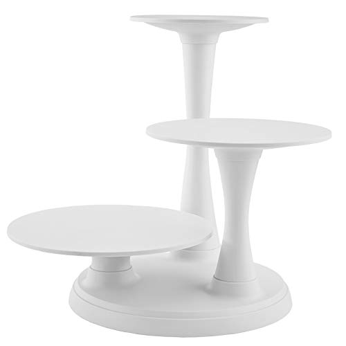 Wilton 3-Tier Pillar Style Cake and Dessert Stand, Great for Displaying Cakes, Cupcakes, Danishes and Your Favorite Hors d'Oeuvres, White