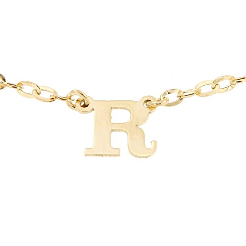 Lucchetta - Collana in Oro giallo lettera R - Catenina oro giallo con pendente Iniziale'R' - 4#S2073
