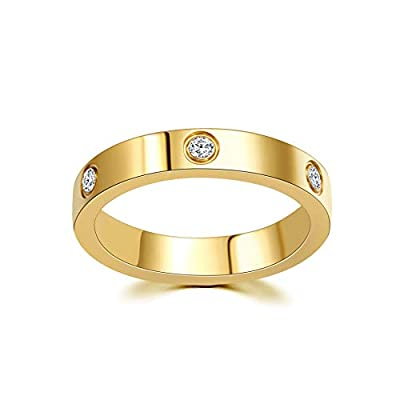 LFRIO Love Ring 18K Gold Plated Titanium Steel Ring for Women Wedding Band Statement Ring Size 5-10