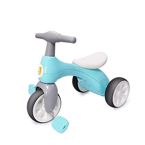 CAIMEI Triciciclo infantil para bicicleta de 1 a 3 a 5 años de edad, 1 cochecito de niño ligero deslizante, material de mordedor desmontable (color: rosa), azul