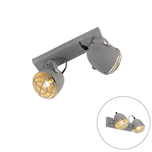 QAZQA Industrie/Industrial Industriell verstellbarer Spot/Spotlight/Deckenspot/Deckenstrahler/Strahler/Lampe/Leuchte grauer Beton 2-flammig-Licht - Rebus/Innenbeleuchtung/Wohnzimmerl
