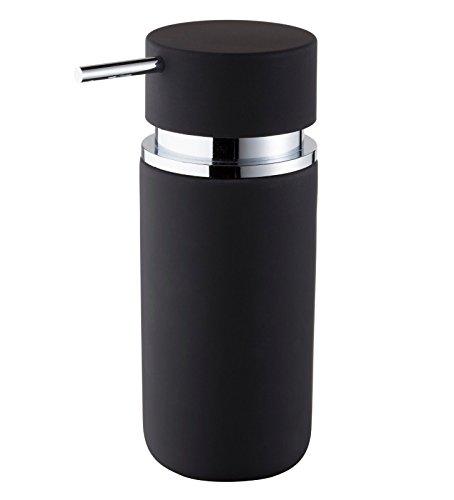 Gedotec Design Seifen-Spender Keramik rund Seifendispenser fürs Bad Seifendosierer schwarz | Modell B9101 | hochwertiger Badzubehör inklusive Pumpe aus Kunststoff | Keramik graphit-schwarz | 1 Stück
