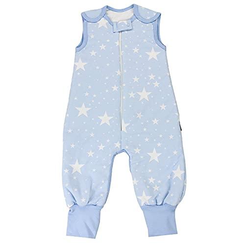TupTam Baby Schlafsack mit Bein Mädchen Jungen Ganzjahresschlafsack 2,5 Tog, Farbe: Weiße Sterne/Blau, Größe: 80-86