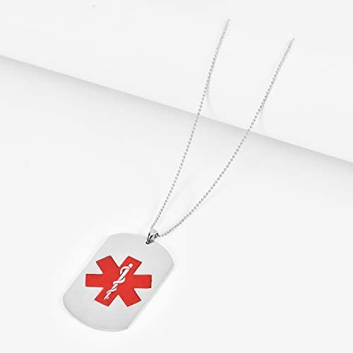Sterling Silver with Enamel 19mm Medical Alert Pendant Charm Custom Engraved Personalized
