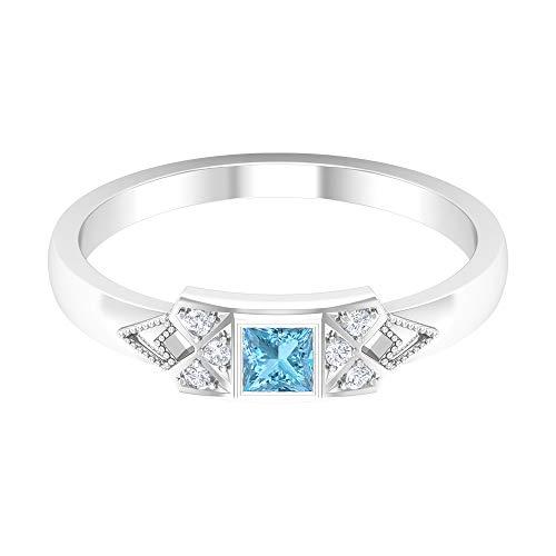 Anillo de aguamarina solitario de 1/4 quilates, anillo de diamante HI-SI, anillo de compromiso de corte princesa de 3 x 3 mm, anillo de oro vintage, anillo de oro de 14 quilates.