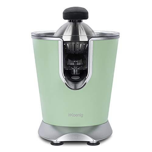 h.koenig Spremiagrumi elettrico professionale, in acciaio inox, verde, effetto opaco, AGR88, senza BPA, rapido, silenzioso, potente, 160 W, antigoccia, lavabile in lavastoviglie