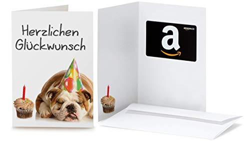 Amazon.de Geschenkkarte in Grußkarte (Geburtstag Bulldog)