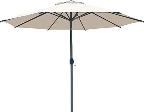SORARA Palermo Parasol de Jardin Exterieur | Beige | Ø 300 cm / 3m | Rond | Commande à Manivelle (Pied excl.)