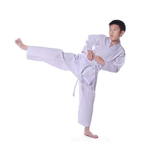 WRJ Taekwondo-Uniformen, Für Erwachsene Aus Baumwolle Taekwondo Uniformen Kinder Kurzärmelige Taekwondo-Uniformen Männer Und Frauen Mit Langen,Weiß,180cm