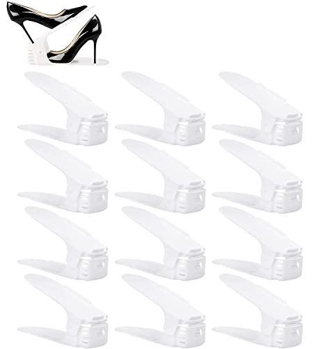 BIGLUFU Organizadores Ajustables de Zapatos con Ranuras Soportes de Calzado Apilador para Zapatos Ahorro de Espacio (Set de 12pcs)