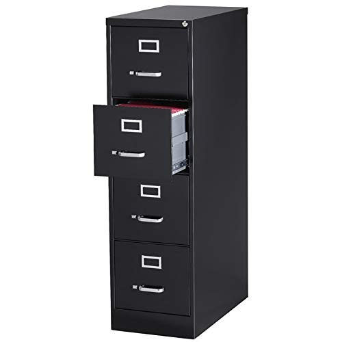 "Pemberly Row 4 Drawer 25"" Deep Letter File Cabinet in Black, Fully Assembled"