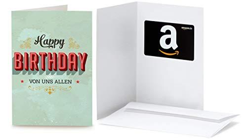 Amazon.de Geschenkkarte in Grußkarte (Geburtstag Vintage)