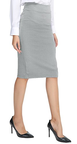Urban CoCo Women's Elastic Waist Stretch Bodycon Midi Pencil Skirt (L, Light Gray)