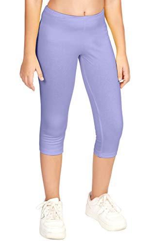 CAOMP Girl's Capri Crop Leggings, Organic Cotton Spandex, School or Play Lavender 9 / 10