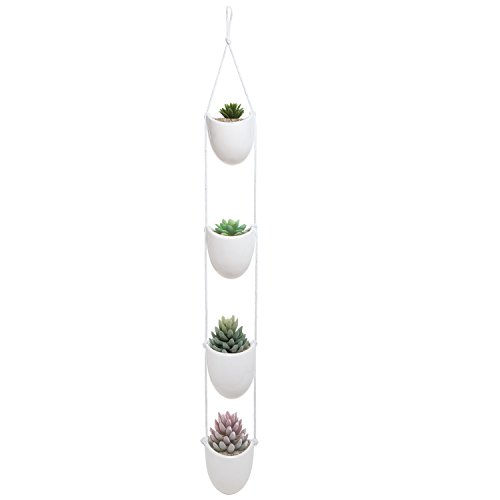 White Ceramic Rope Hanging Planter Set with 4 Flower Pots Plant...