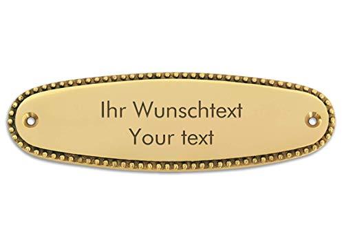 Klingelschild mit persönlicher Gravur, hochwertiges Messingschild, 125 x 38 mm, oval, schmuckrand - Türschild, Namensschild, Gravurschild