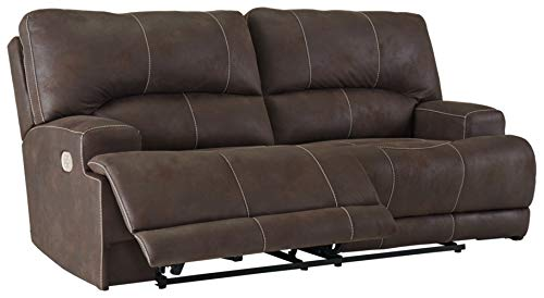 Signature Design by Ashley - Kitching Faux Leather 2 Seat Power Reclining Sofa - Adjustable Headrest - Dark Brown