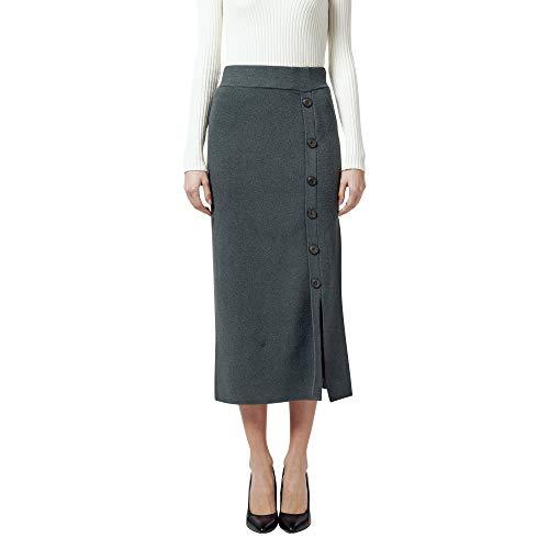 Finery Damen-Rock aus Wolle mit hoher Taille, langer Bund, elastisch, einfarbig, für Winter, Herbst, Frühling, warm, Grau M/L