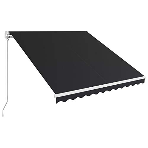 Tidyard Toldo retráctil Manual Toldo para Bar Toldo Terraza Toldos Impermeables Exterior, Gris Antracita 300x250 cm